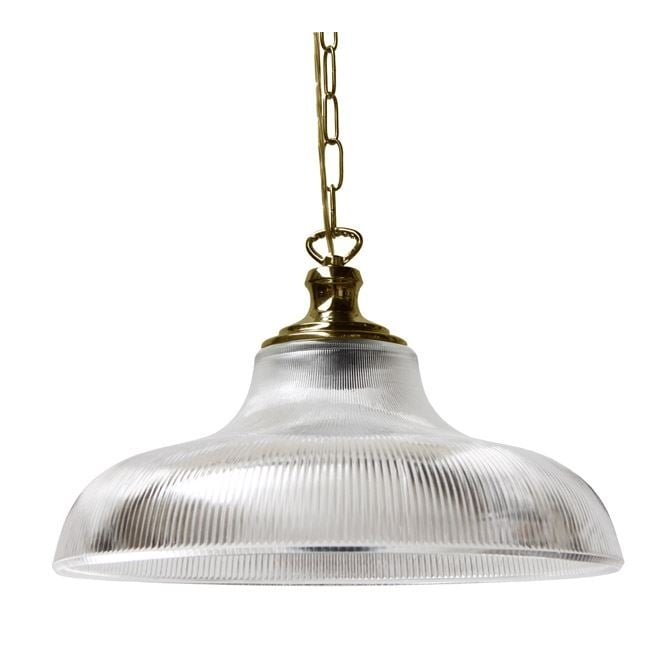 LONDON 40cm prismatic glass railway pendant with polished brass suspension