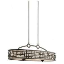 Mackintosh Design Ceiling Bar Pendant in Bronze with Inner Shade