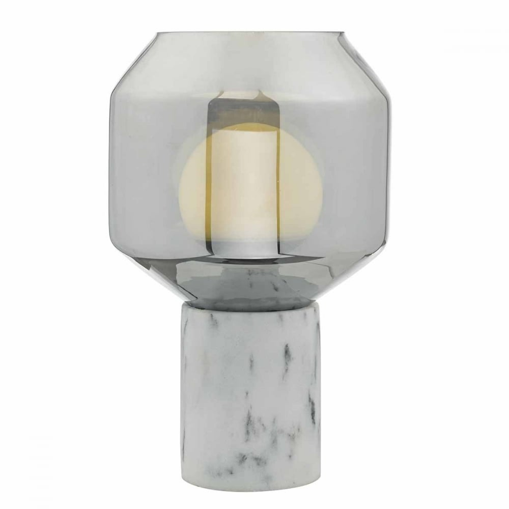 Marble Effect Table Lamp With Smoked Glass Shade