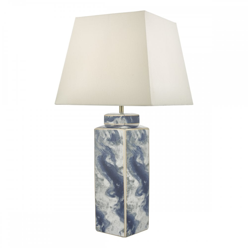 LOYCE blue marble effect ceramic table lamp base (shade excluded)