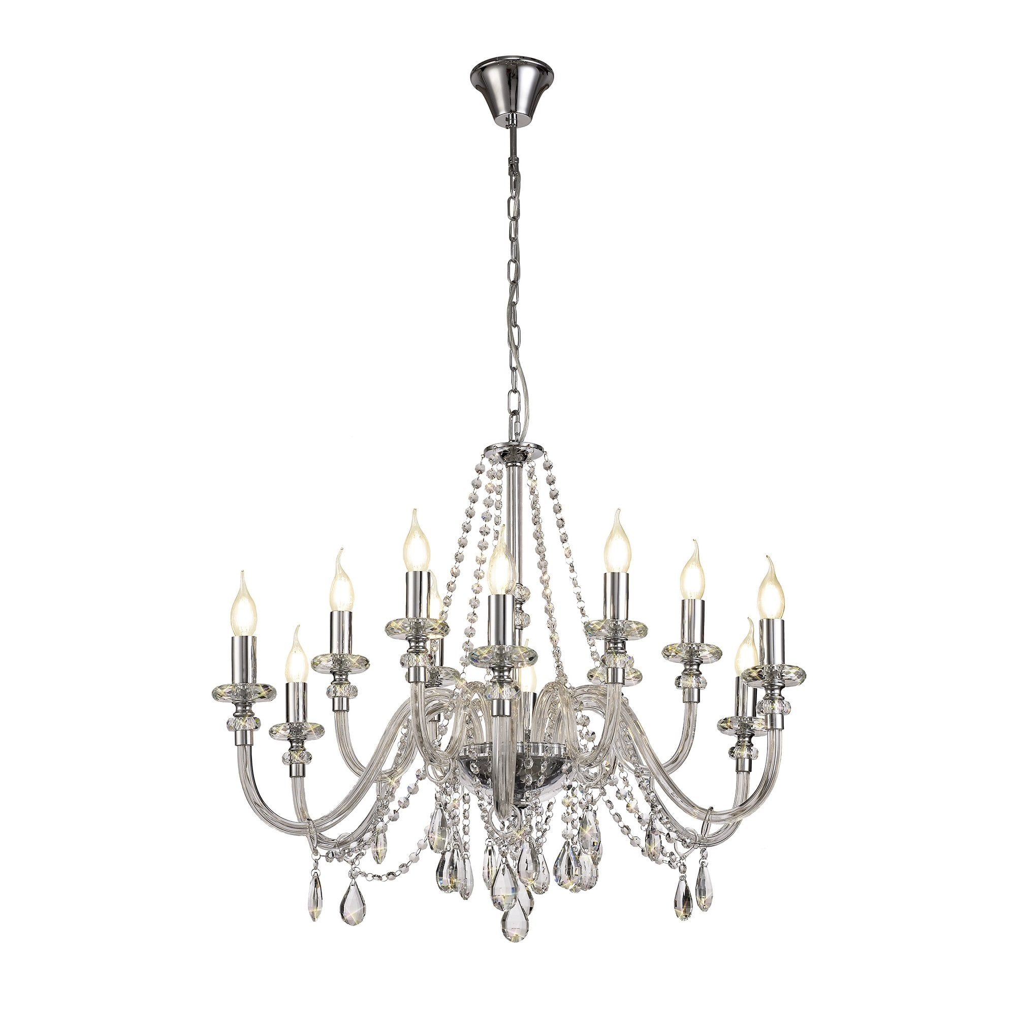 LUCENT Twin Chandelier Style Wall Light Polished Chrome and Real Crystal