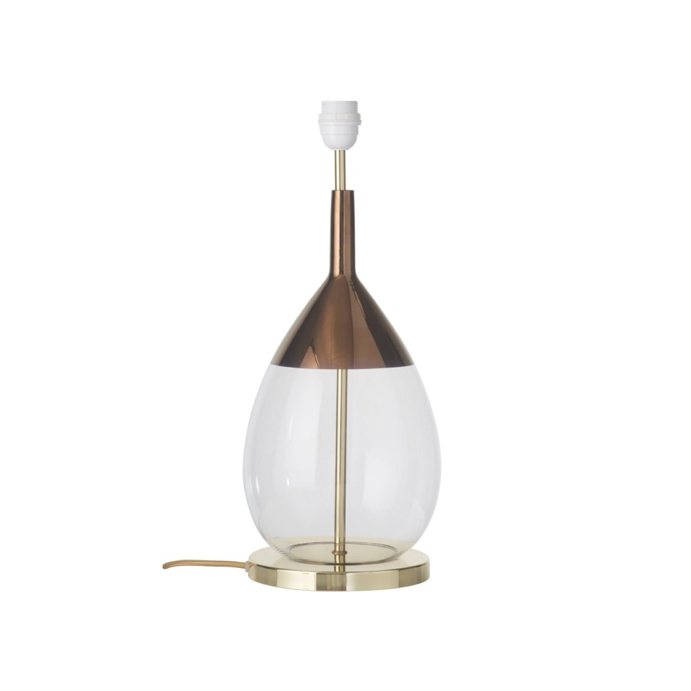clear glass table lamp with copper detailing lighting company. Black Bedroom Furniture Sets. Home Design Ideas