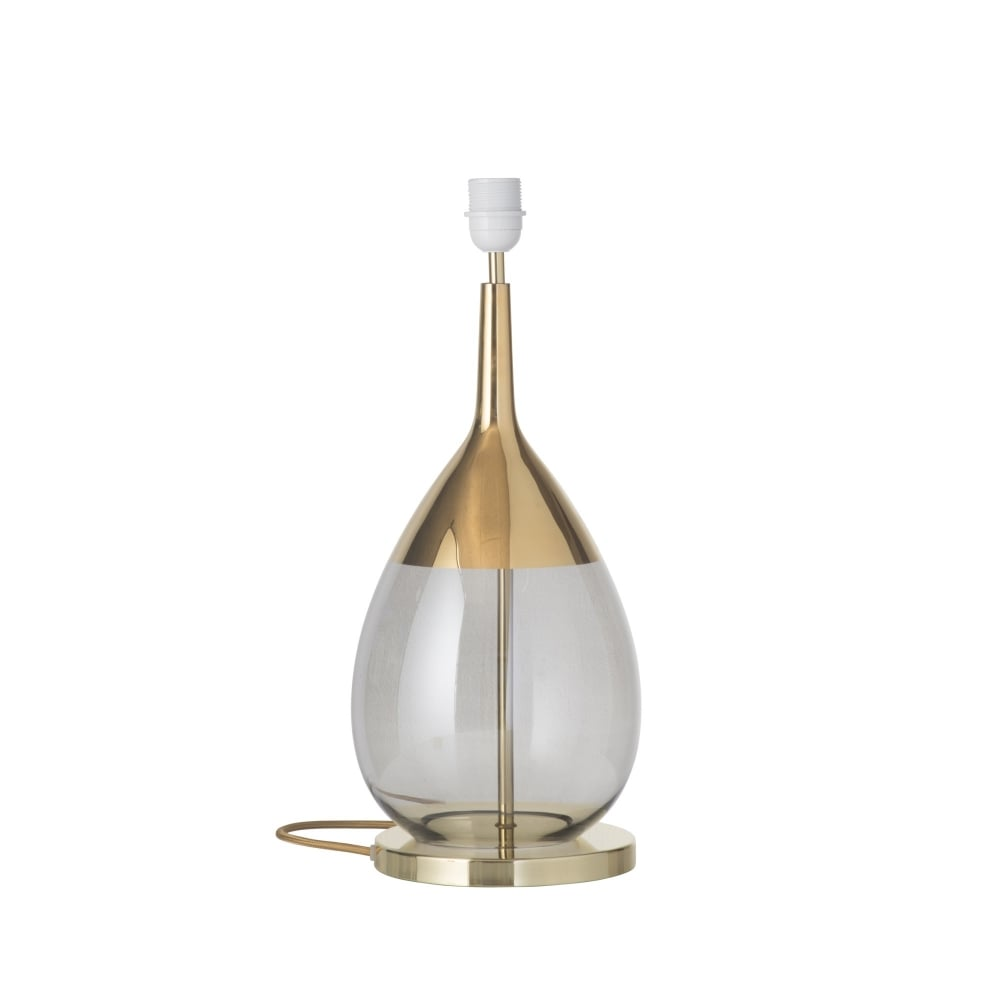 Smokey Grey Glass And Gold Table Lamp Base