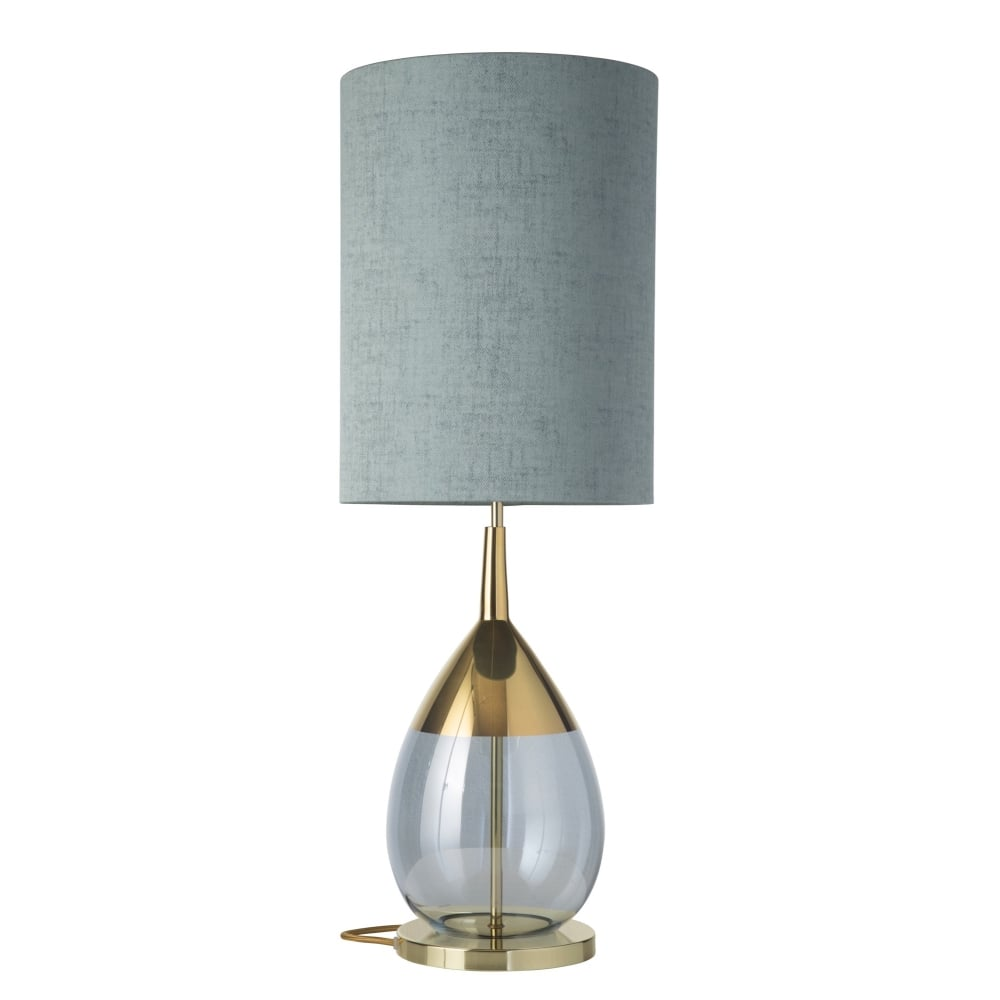 Topaz Blue Glass Table Lamp With Gold Detailing Lighting Company