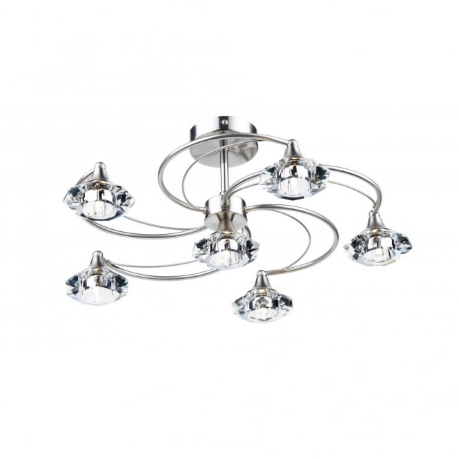 Luther Satin Chrome Crystal Glass Semi Flush Ceiling Light 6lt