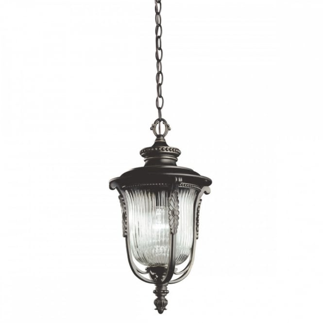 LUVERNE traditional chain hanging porch lantern in rubbed bronze finish