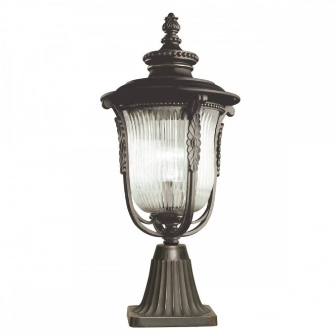 traditional outdoor pedestal coach lantern in bronze with ribbed glass
