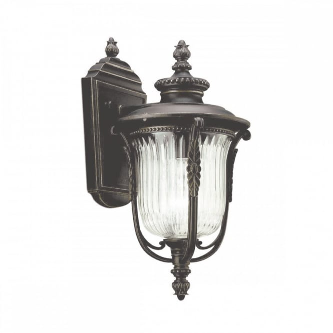 LUVERNE traditional rubbed bronze small outdoor wall lantern
