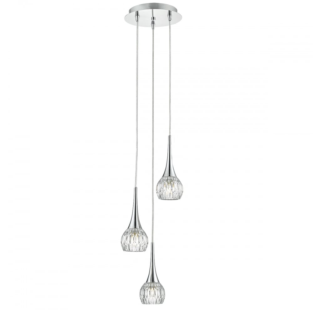 Modern 3 light pendant cluster in chrome with glass shades