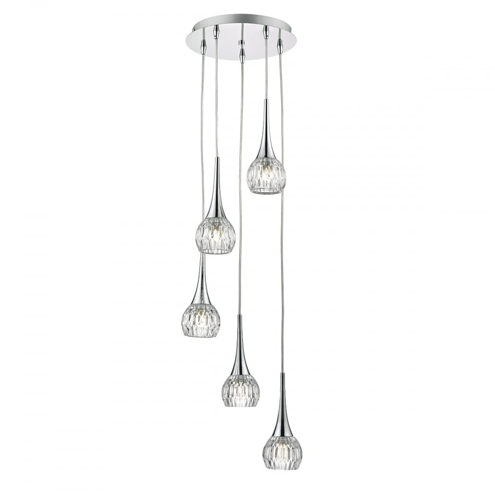 Chrome and cut glass 5 light pendant cluster