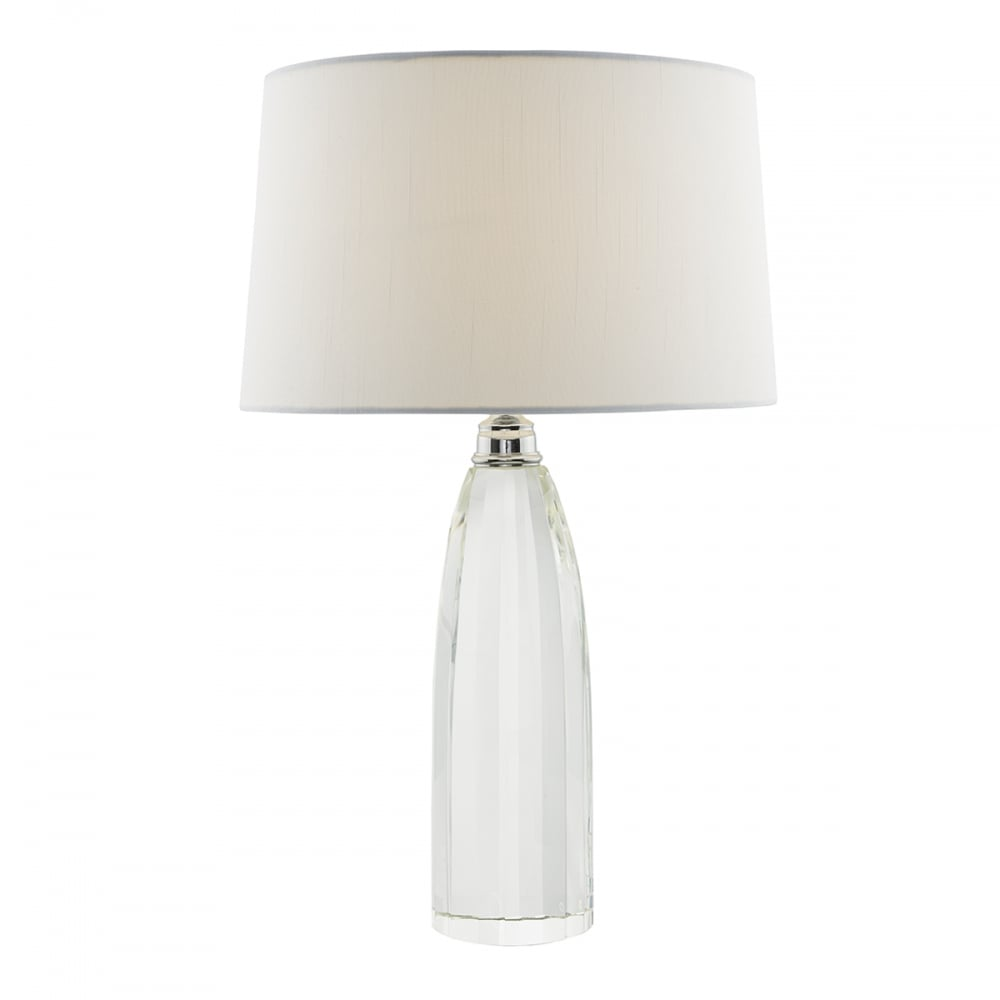 Solid Crystal Table Lamp With Rectangular Ivory Faux Silk Shade