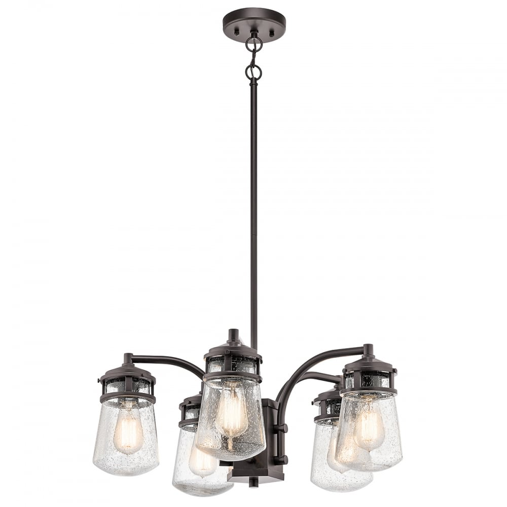 Lyndon rustic 5 light exterior chandelier in bronze with seeded glasses