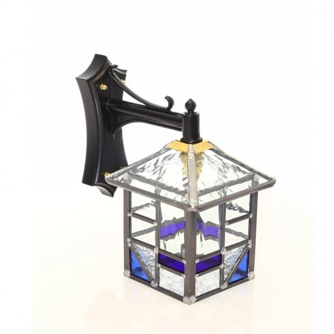 LYNTON Blue and Clear Glass Outdoor Wall Lantern