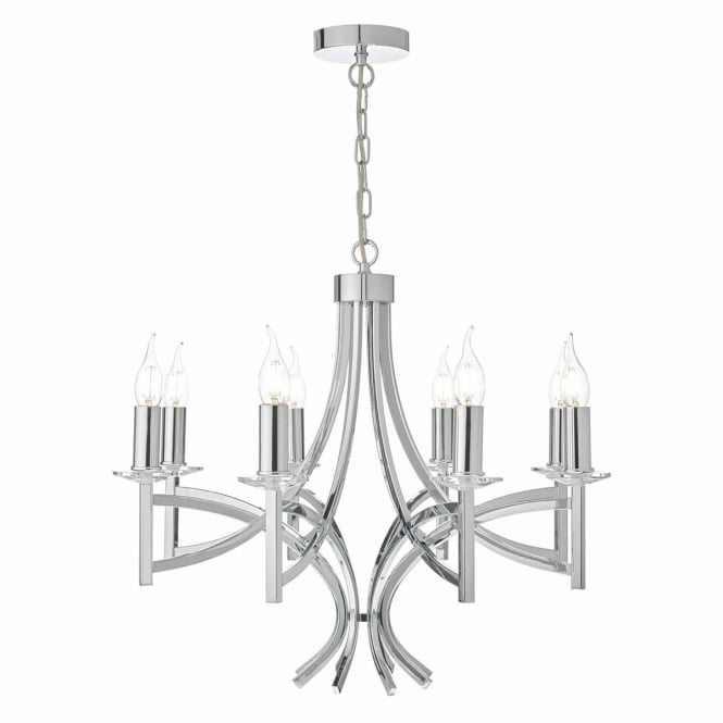LYON 8 light chrome and crystal ceiling pendant