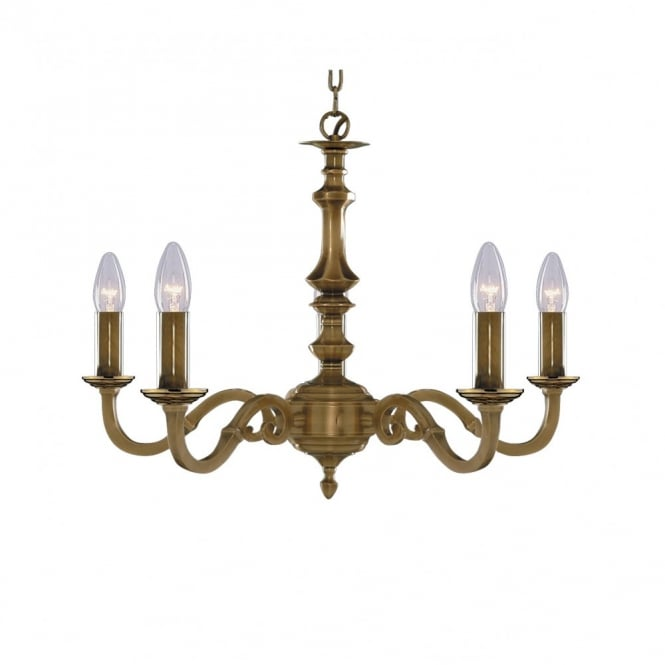 Malaga 5 Light Antique Brass Ceiling Pendant