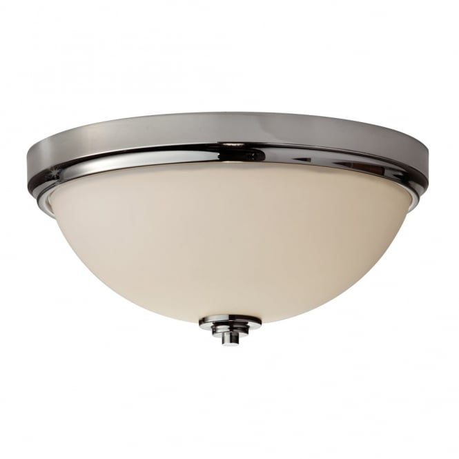 MALIBU classic modern flush mount bathroom ceiling light in chrome with opal glass