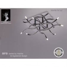AIRE square flush chrome ceiling light for low ceilings