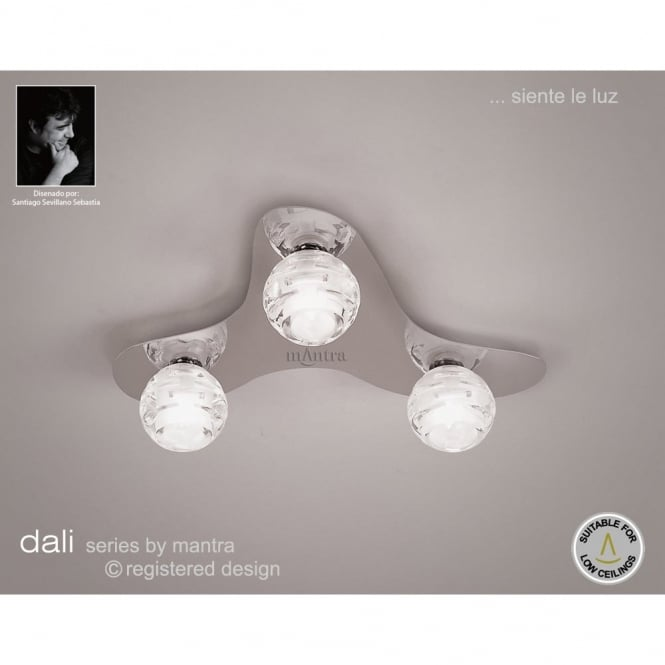 Mantra DALI chrome flush light for low ceilings with glass shades