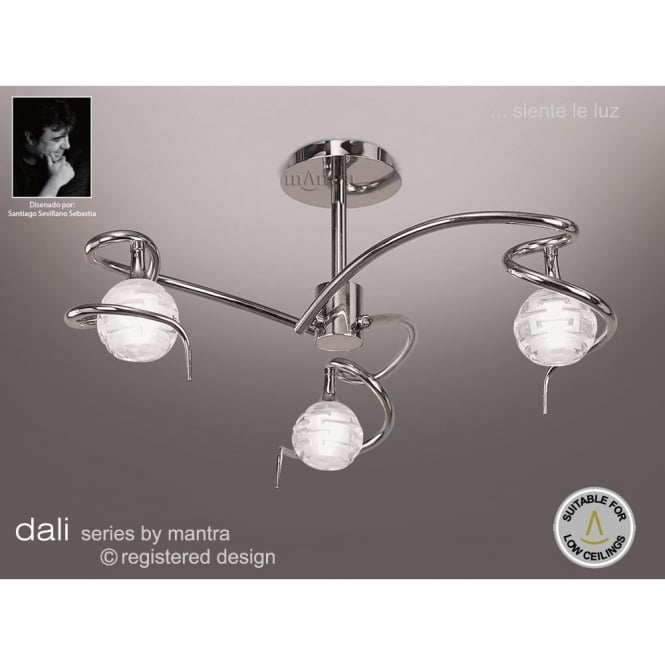 Buy chrome low ceiling light with sculptured glass shades feature dali chrome low ceiling light with 3 sculptured glass shades mozeypictures Image collections