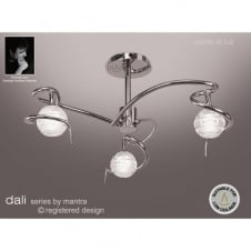 DALI chrome low ceiling light with 3 sculptured glass shades