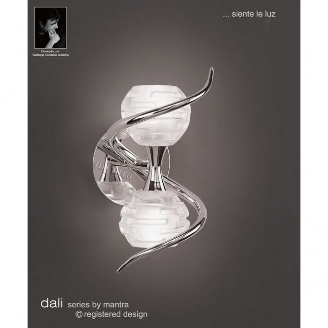 Mantra DALI double chrome wall light with sculptured glass shades