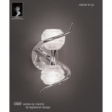 DALI double chrome wall light with sculptured glass shades