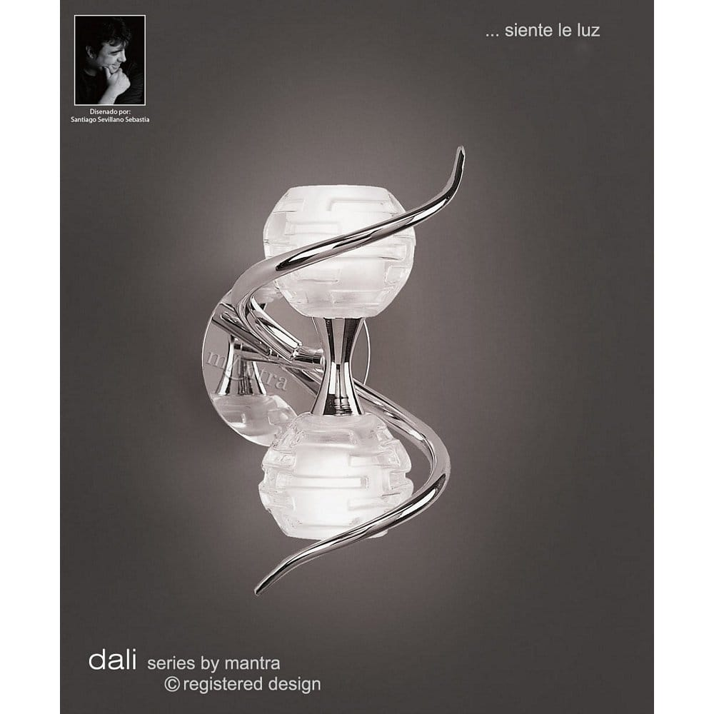 Chrome Wall Light With Glass Shade : Buy Unusual Chrome Wall Lights with Sculpture Glass Shades.