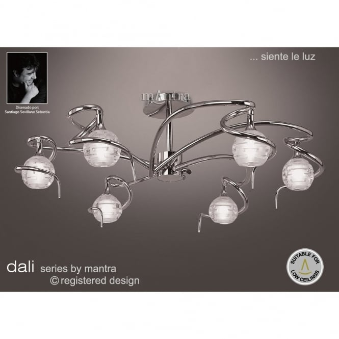 Mantra DALI large chrome low ceiling light with sculptured glass shades