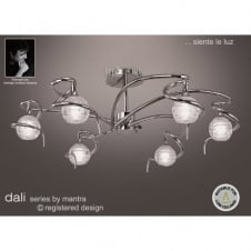 DALI large chrome low ceiling light with sculptured glass shades
