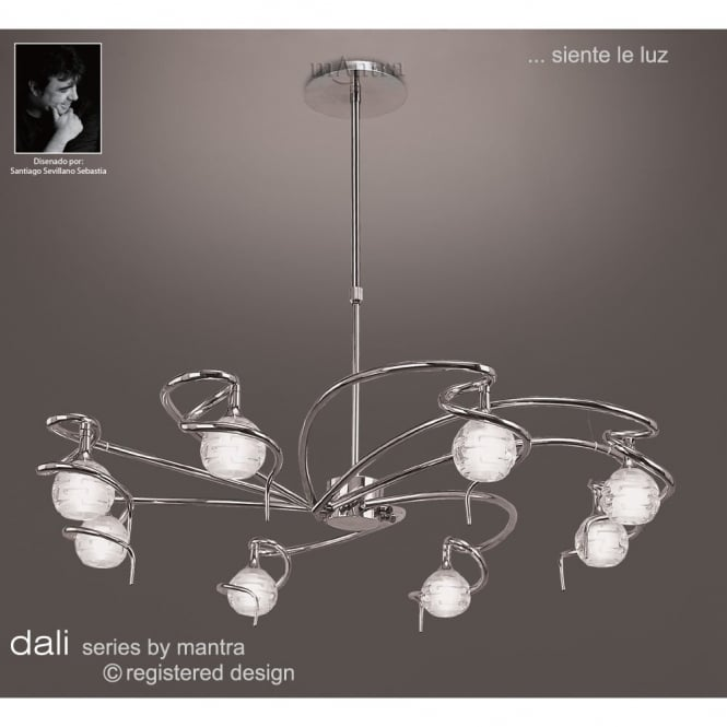 Mantra DALI large circular chrome ceiling light with round glass shades