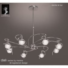 DALI large circular chrome ceiling light with round glass shades
