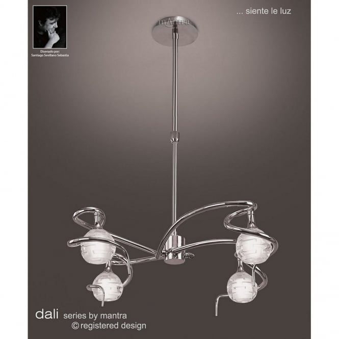 Mantra DALI modern adjustable height chrome ceiling pendant light