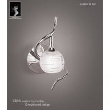 DALI single chrome wall light with sculptured glass shade