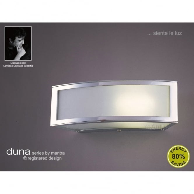 Mantra DUNA modern low energy white and chrome ceiling or wall light