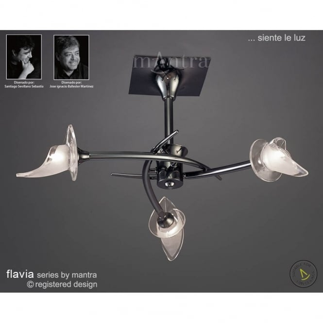 Mantra FLAVIA modern black chrome ceiling light for low ceilings