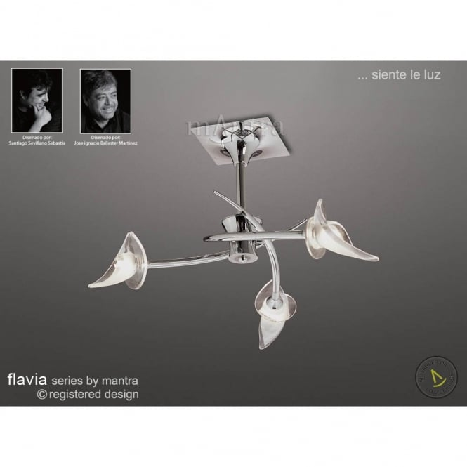 Mantra FLAVIA modern chrome ceiling light for low ceilings