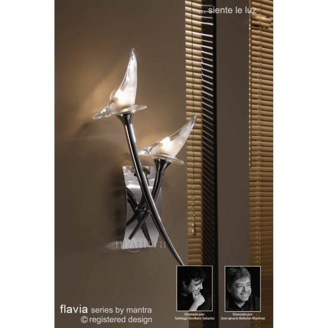 Mantra FLAVIA twin chrome wall light with sculptured glass shades