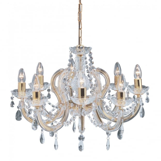 MARIE THERESE chandelier 8 light gold brass & crystal