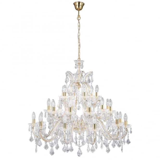 MARIE THERESE very large chandelier gold brass & crystal