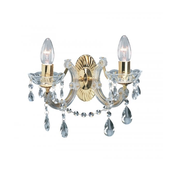 MARIE THERESE wall light in gold brass & crystal