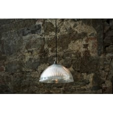 bathroom pendant in antique silver with ribbed glass shade