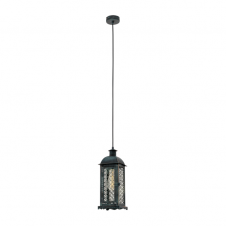 MARRAKECH rustic traditional ceiling pendant in antique green and black finish