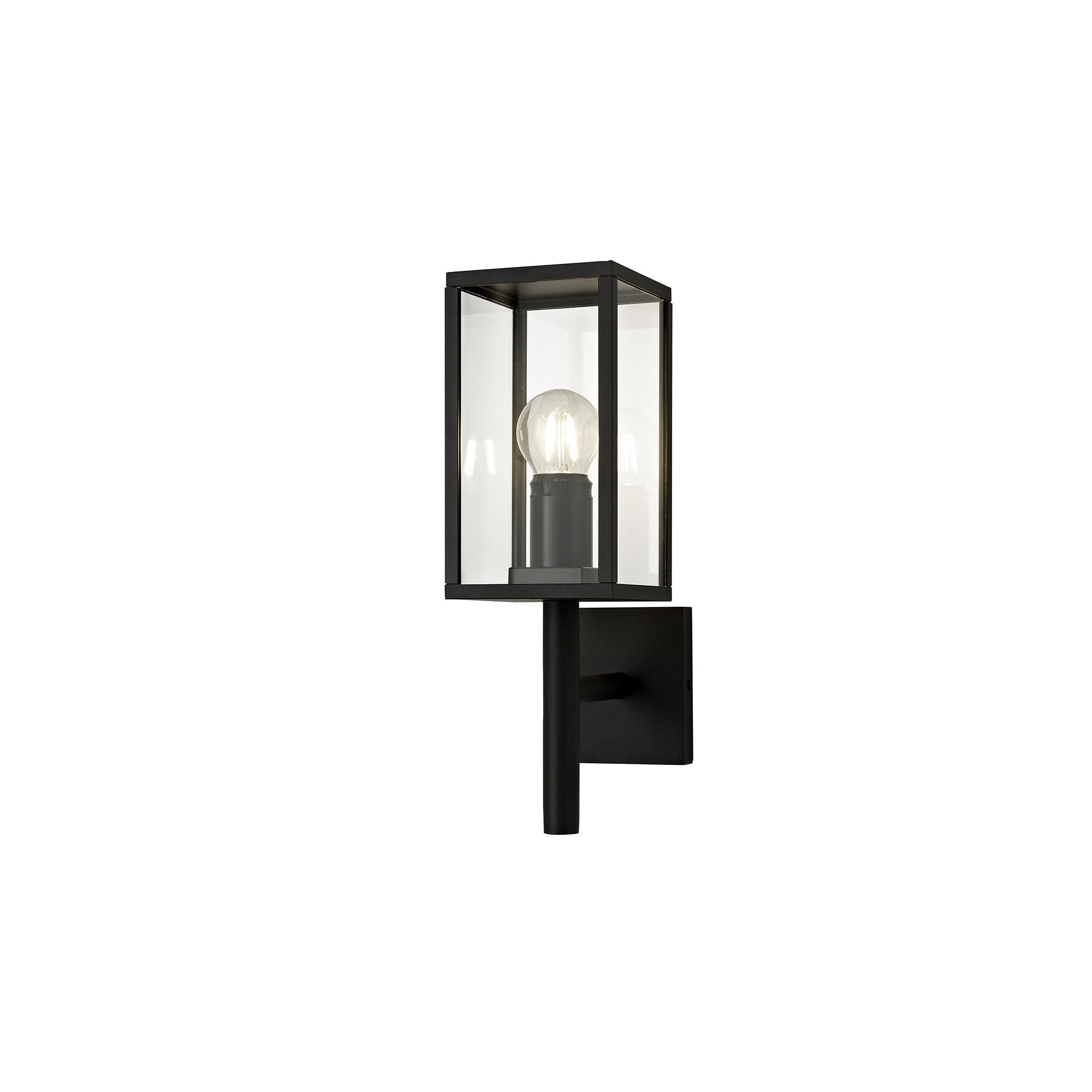 Outdoor Graphite Black Box Lantern Wall Light With Clear Glass