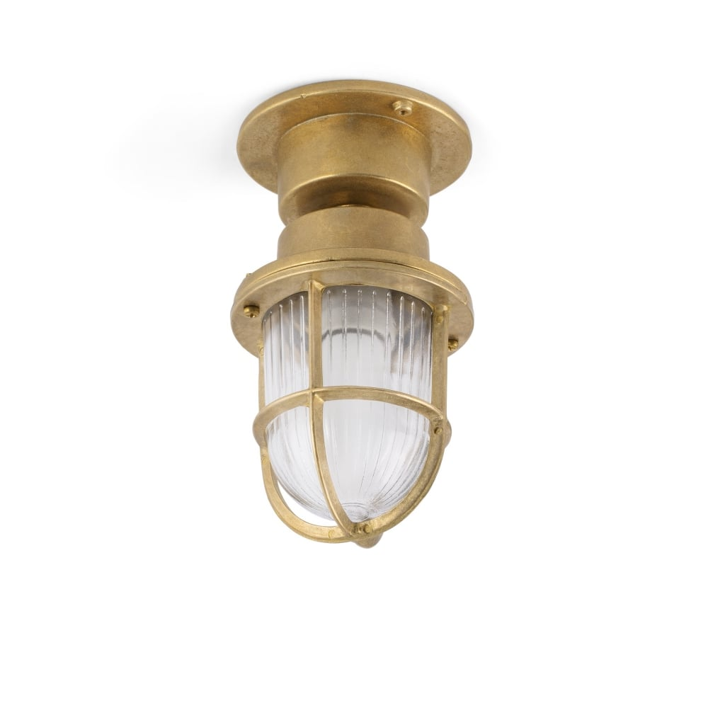 Coastal Style Brass Outdoor Light With Ribbed Glass Lighting Company