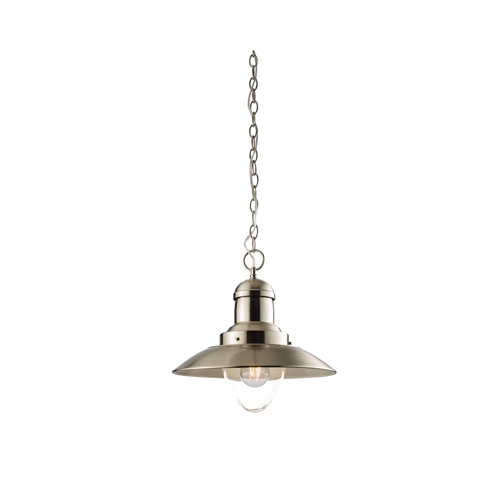 satin nickel single fisherman pendant light with chain suspension