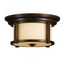 modern classic bronze flush ceiling light with cream glass shade