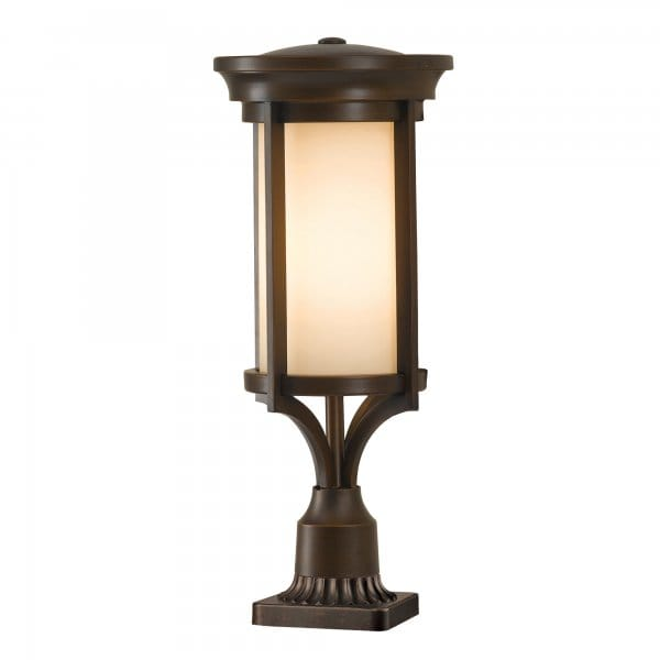 Parish Mini Pedestal Lantern: Modern Classic Outdoor Pedestal Light In Heritage Bronze