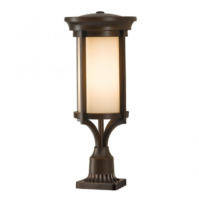 modern classic outdoor pedestal light in heritage bronze finish