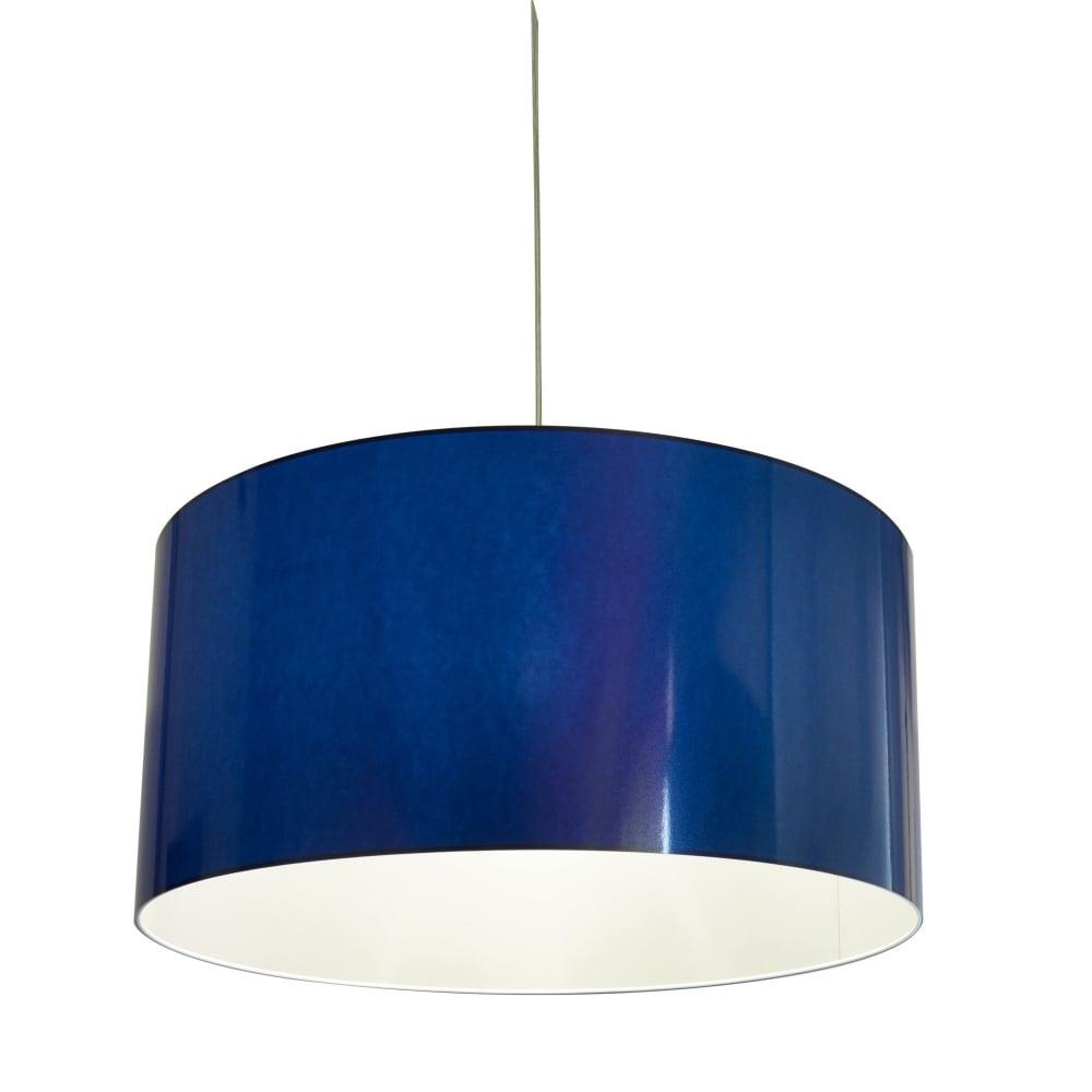 Large Blue Lamp Shade: Metallic Blue Vinyl Easy Fit Shade