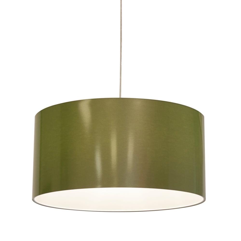 Contemporary Green Metallic Vinyl Pendant Shade Lighting